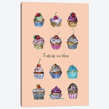 A Cupcake Now Please Canvas Print #FPT245} by Fanitsa Petrou Art Print
