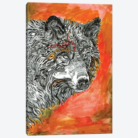 Red Wolf Canvas Print #FPT295} by Fanitsa Petrou Canvas Art