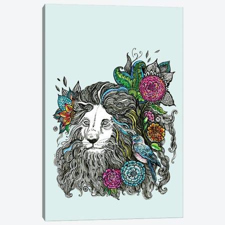 Lion With Flowers Canvas Print #FPT300} by Fanitsa Petrou Canvas Art Print