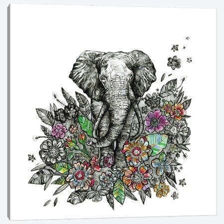 Elephant With Flowers Canvas Print #FPT305} by Fanitsa Petrou Canvas Wall Art