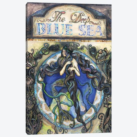 The Deep Blue Sea - Mermaid Canvas Print #FPT30} by Fanitsa Petrou Canvas Art Print