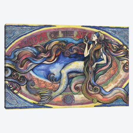 Maiden Of The Sea - Mermaid Art Canvas Print #FPT325} by Fanitsa Petrou Canvas Wall Art