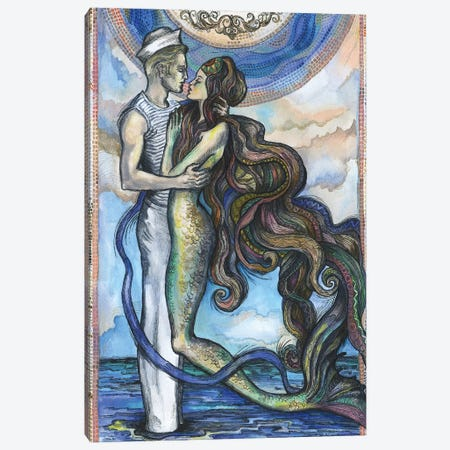 The Sailor And The Mermaid Canvas Print #FPT34} by Fanitsa Petrou Canvas Wall Art