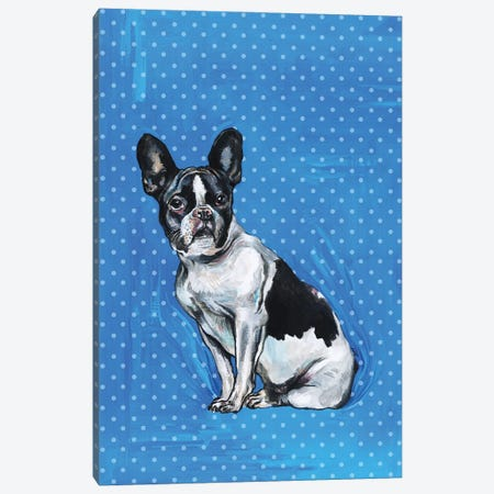French Bulldog - Blue And White Polka Dots Canvas Print #FPT59} by Fanitsa Petrou Canvas Print