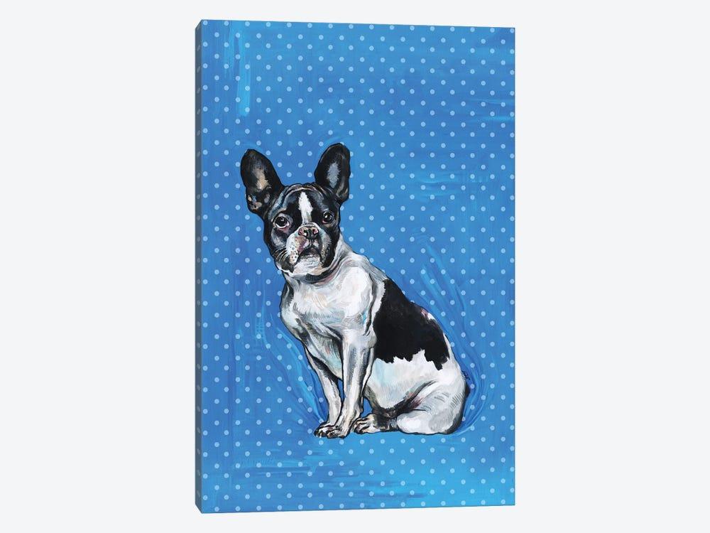 French Bulldog - Blue And White Polka Dots by Fanitsa Petrou 1-piece Canvas Wall Art