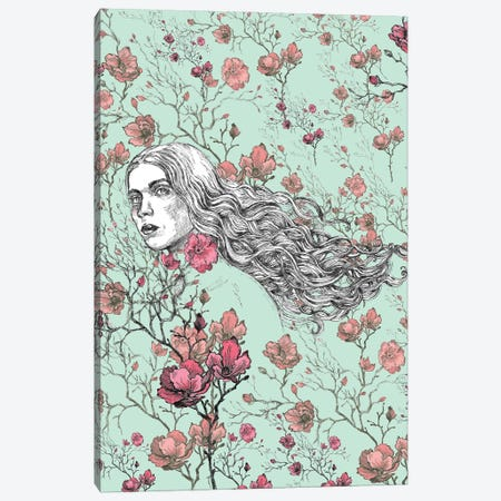 Woman In A Meadow With Red Flowers Canvas Print #FPT63} by Fanitsa Petrou Canvas Art