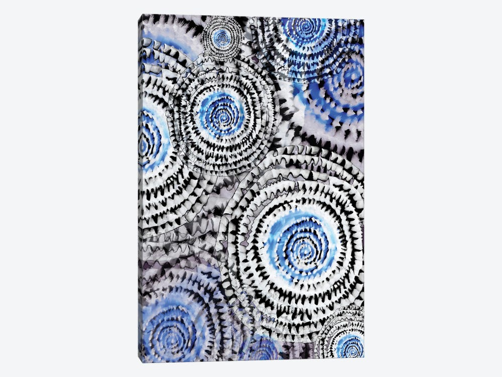Abstract - Wheels In Blue 1-piece Canvas Wall Art