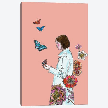Butterflies And Flowers Canvas Print #FPT69} by Fanitsa Petrou Canvas Artwork