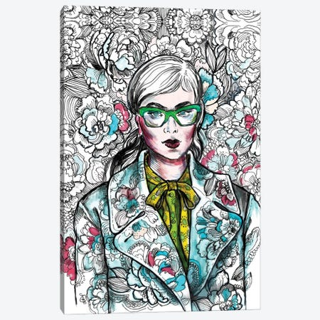 Floral Coat And Glasses - Fashion Illustration Canvas Print #FPT78} by Fanitsa Petrou Art Print