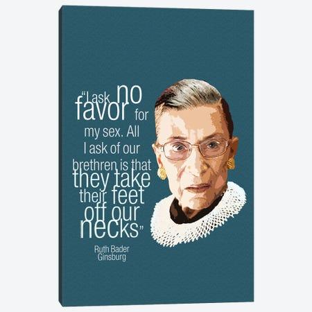 Ruth Bader Ginsberg Quote - Feminist Art Canvas Print #FPT87} by Fanitsa Petrou Canvas Art Print