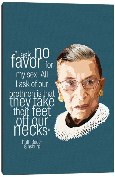 Ruth Bader Ginsberg Quote - Feminist Art Canvas Art Print
