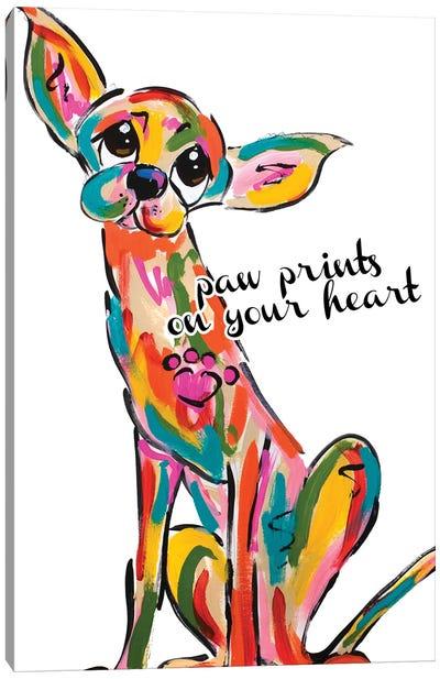 Paw Prints On My Heart Canvas Art Print