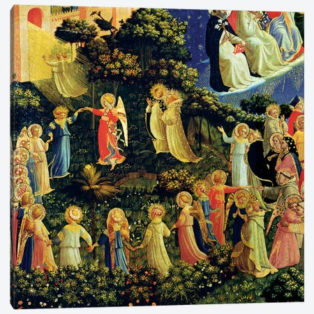 Deatil Of Paradise, The Last Judgement, c.1431 3-Piece Canvas #FRA12} by Fra Angelico Art Print