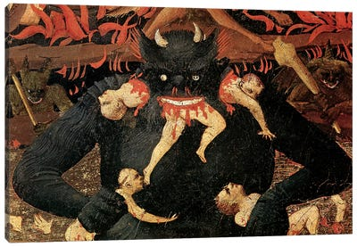 Detail Of Satan Devouring The Damned In Hell, The Last Judgement, c.1431 Canvas Art Print