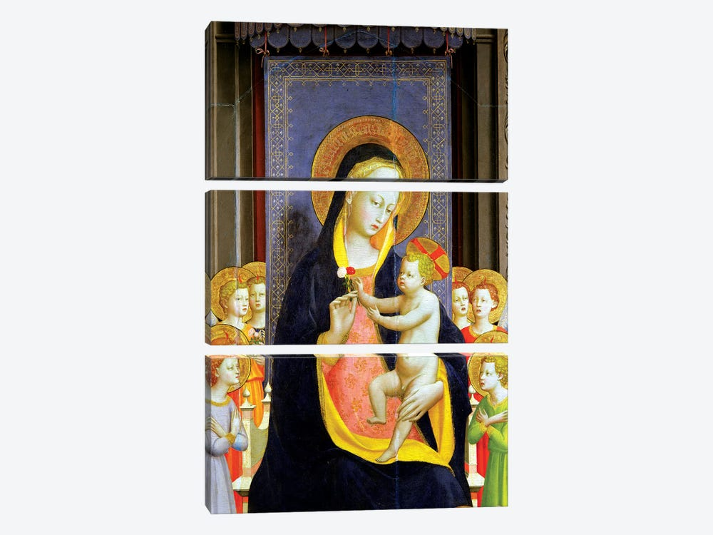 Detail Of Virgin And Child, Fiesole Altarpiece, c.1422 by Fra Angelico 3-piece Art Print