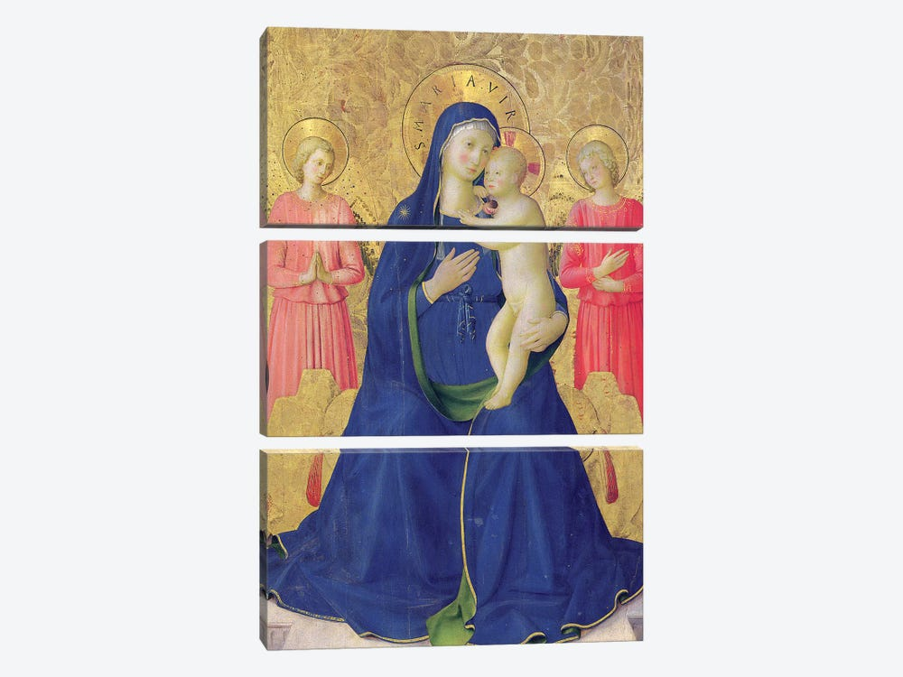 Detail Of The Enthroned Virgin And Child, Bosco ai Frati Altarpiece, 1452 by Fra Angelico 3-piece Canvas Wall Art