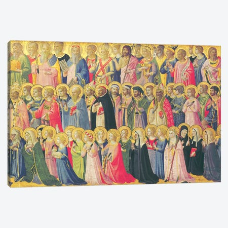 The Forerunners Of Christ With Saints And Martyrs, 1423-24 Canvas Print #FRA17} by Fra Angelico Canvas Art