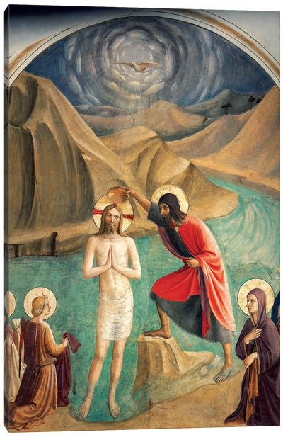 The Baptism Of Christ, 1437-45 Canvas Art Print