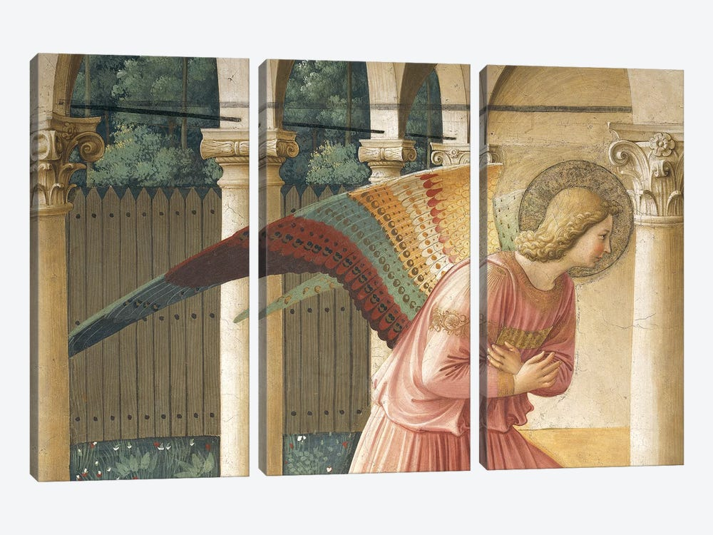 Detail Of Archangel Gabriel, The Annunciation, Convent of San Marco in Florence, 1437-45 by Fra Angelico 3-piece Canvas Art Print