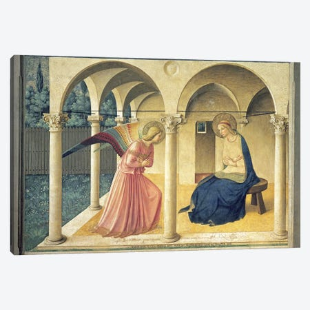 The Annunciation, Convent of San Marco in Florence, c.1438-45 (Museo di San Marco) Canvas Print #FRA1} by Fra Angelico Canvas Artwork