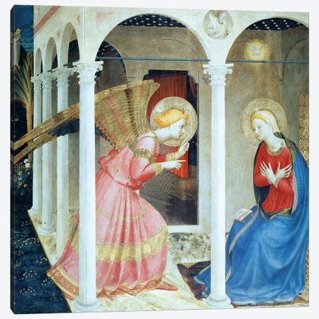Annunciation Of Cortana, Church of Gesú, 1433-36 (Museo Diocesane, Cortana) Canvas Print #FRA20} by Fra Angelico Canvas Wall Art