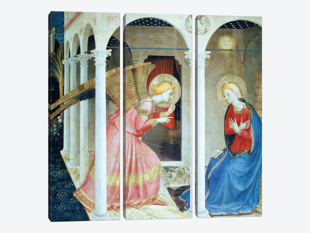 Annunciation Of Cortana, Church of Gesú, 1433-36 (Museo Diocesane, Cortana) by Fra Angelico 3-piece Canvas Art Print