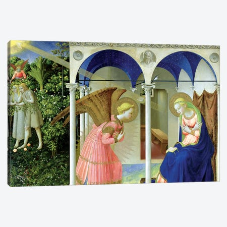 The Annunciation, Convent of Santo Domenico in Fiesole, 1426 (Museo del Prado) Canvas Print #FRA2} by Fra Angelico Canvas Art