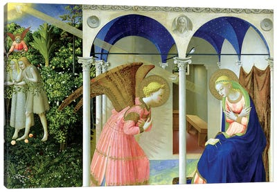 The Annunciation, Convent of Santo Domenico in Fiesole, 1426 (Museo del Prado) Canvas Art Print