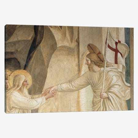 Detail Of Abraham And Jesus, The Descent Into Limbo, 1442 Canvas Print #FRA30} by Fra Angelico Canvas Print
