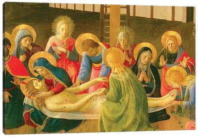 Detail of Center, Lamentation Over The Dead Christ, 1436-41 Canvas Art Print