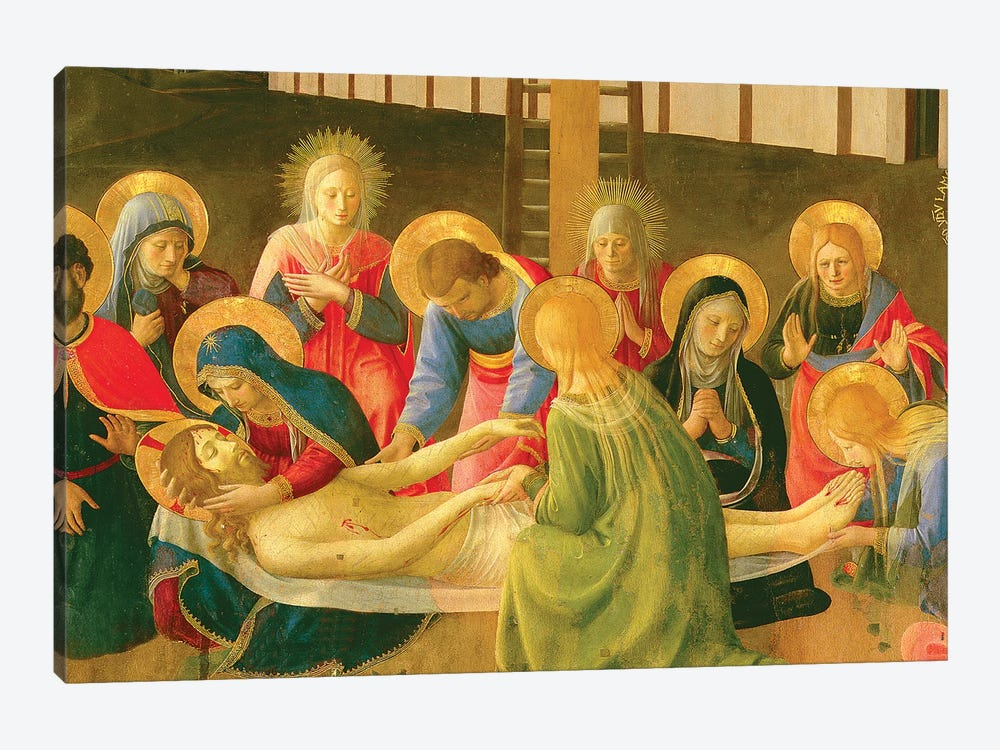 Detail of Center, Lamentation Over The Dead Christ, 1436-41 by Fra Angelico 1-piece Canvas Art Print