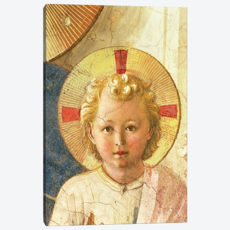 Detail Of Head, The Christ Child, The Madonna Delle Ombre (Madonna of the Shadows), 1450 Canvas Print #FRA32} by Fra Angelico Art Print