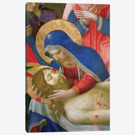 Detail of Madonna Holding Jesus, Lamentation Over The Dead Christ, c.1436-40 Canvas Print #FRA33} by Fra Angelico Canvas Print