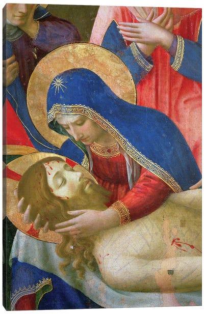 Detail of Madonna Holding Jesus, Lamentation Over The Dead Christ, c.1436-40 Canvas Art Print