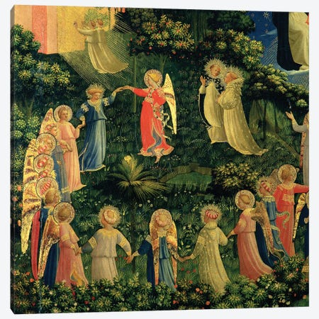 Detail Of Paradise, The Last Judgement, c.1425-30 Canvas Print #FRA34} by Fra Angelico Canvas Artwork
