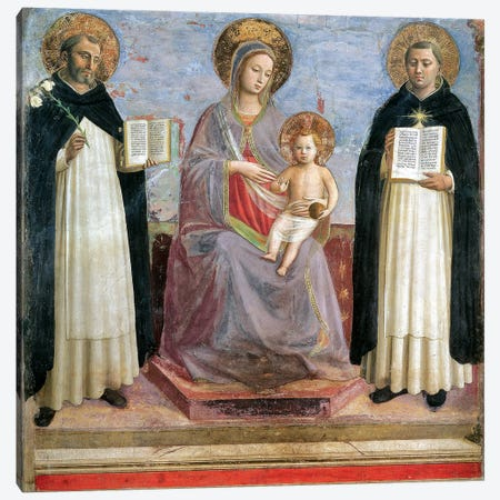 The Virgin And Child With St. Dominic And St. Thomas Aquinas, 1424-30 3-Piece Canvas #FRA3} by Fra Angelico Canvas Artwork