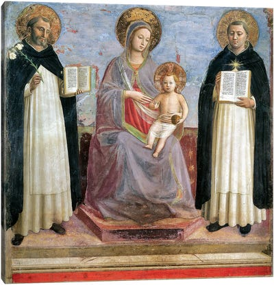 The Virgin And Child With St. Dominic And St. Thomas Aquinas, 1424-30 Canvas Art Print