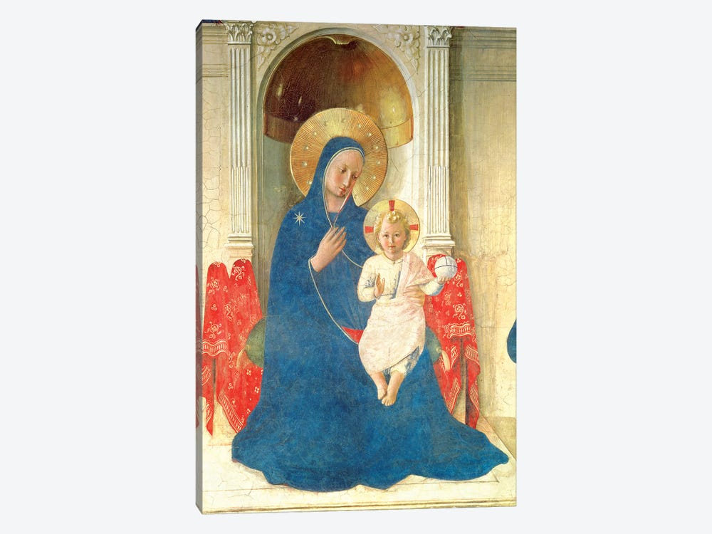 Deatil Of The Enthroned Virgin And Child, Madonna delle Ombre, 1450 by Fra Angelico 1-piece Canvas Artwork