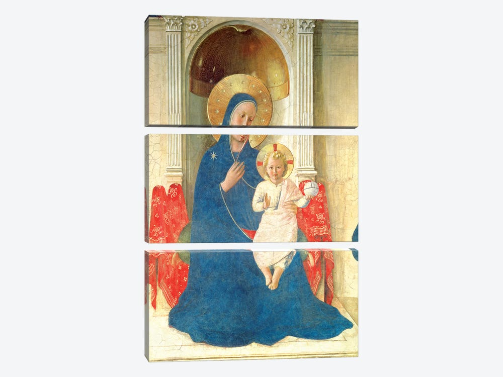 Deatil Of The Enthroned Virgin And Child, Madonna delle Ombre, 1450 by Fra Angelico 3-piece Canvas Wall Art