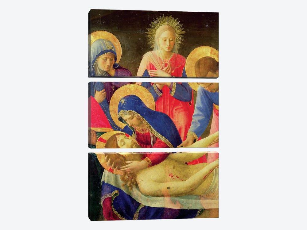 Lamentation Over The Dead Christ, 1436-41 by Fra Angelico 3-piece Canvas Print