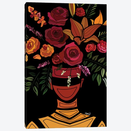 Sunset Flowers Canvas Print #FRC17} by Colored Afros Art Canvas Art