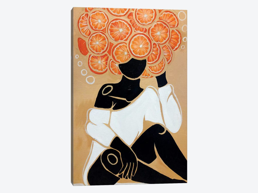 Tangerine by Colored Afros Art 1-piece Canvas Artwork