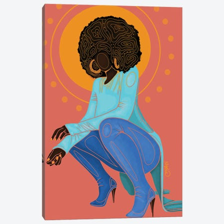 Poppin Canvas Print #FRC36} by Colored Afros Art Canvas Wall Art