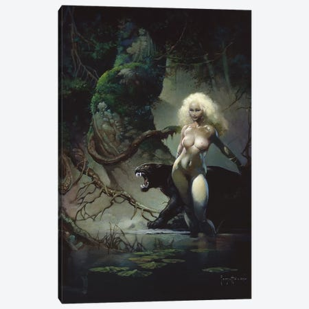 Princess And The Panther Canvas Print #FRF11} by Frank Frazetta Canvas Wall Art