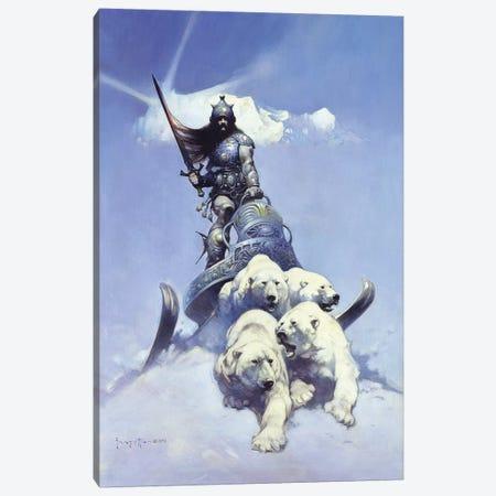 Silver Warrior Canvas Print #FRF14} by Frank Frazetta Art Print