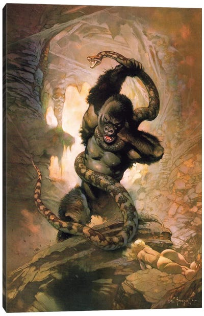 King Kong vs. Snake II Canvas Art Print