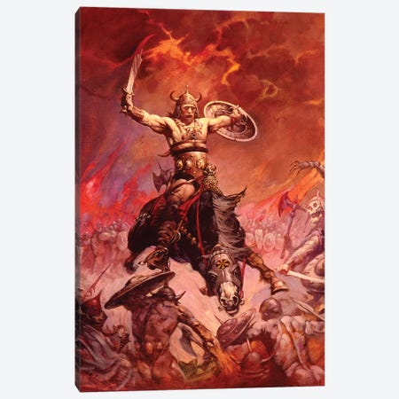 The Berserker Canvas Print #FRF21} by Frank Frazetta Canvas Art Print