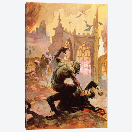 Dracula Vs Wolfman Canvas Print #FRF22} by Frank Frazetta Canvas Art Print