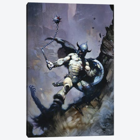 Warrior With Ball And Chain Canvas Print #FRF30} by Frank Frazetta Canvas Artwork