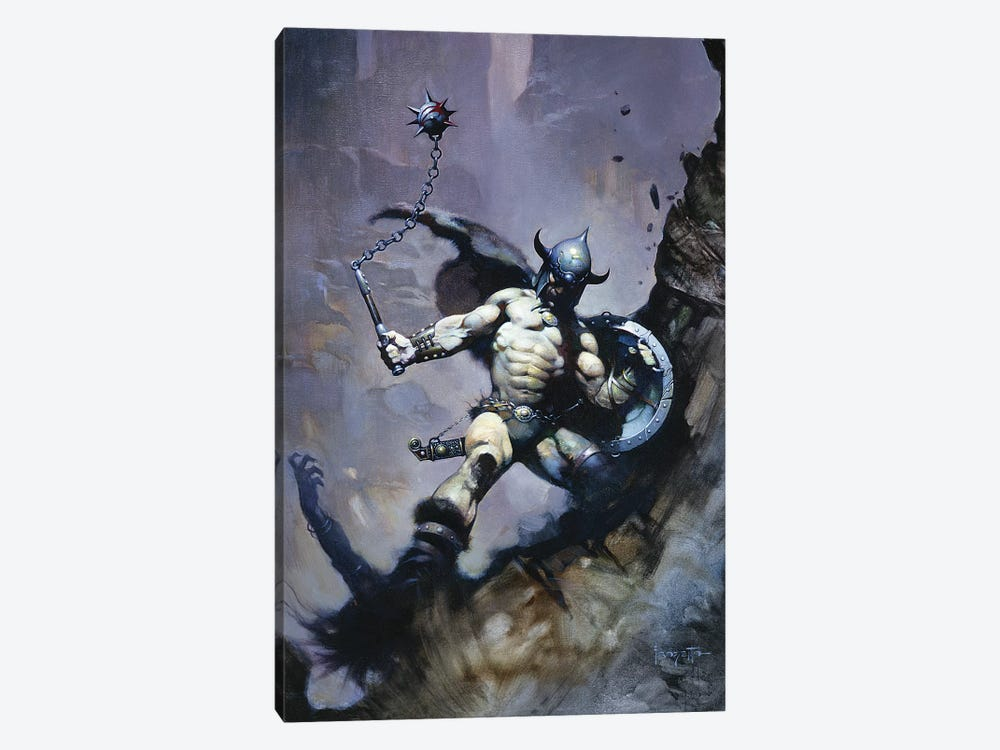 Warrior With Ball And Chain by Frank Frazetta 1-piece Canvas Art Print